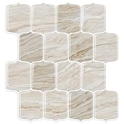 STICKGOO Marble Look Peel and Stick Tile Backsplash, Stick on Backsplash  Tiles, Kitchen Backsplash Peel and Stick, Self Adhesive Vinyl Wall Tiles ...