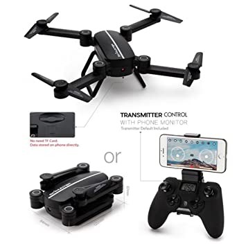 Mini RC Drone con WiFi HD cámara 3 X pilas + plegable Quadcopter ...