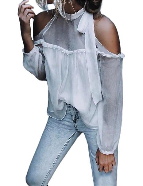 Boutiquefeel Blusa Cuello Atado sin Hombros con Volantes Chiffón Top para Mujer: Amazon.es: Ropa y accesorios