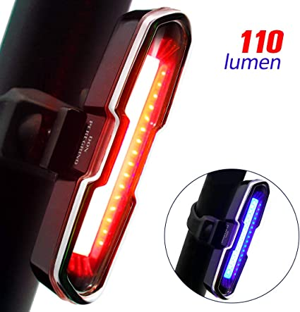 USB Rechargeable Bike Light Red Or White LED Glow Or Flash 5 Modes All In One Or