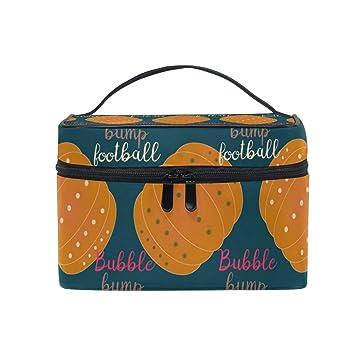 f583bfb3f212 Amazon.com : Cosmetic Bag, Pumpkin Bubble Bump Football Portable ...