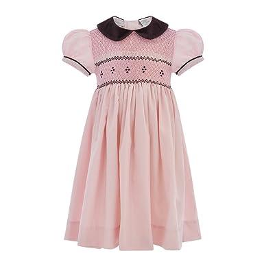 Amazon Com Baby Girl Hand Smocked Short Sleeve Yoke Dress Clothing