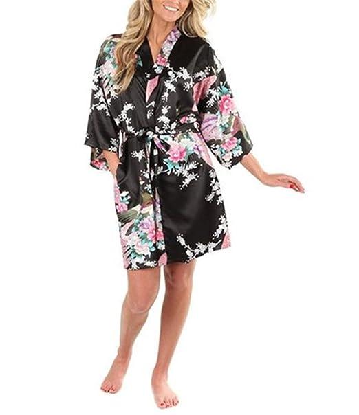 Nerefy Sexy White Printed Female Mini Silk Robe Rayon Kimono Yukata Night Dress Black S