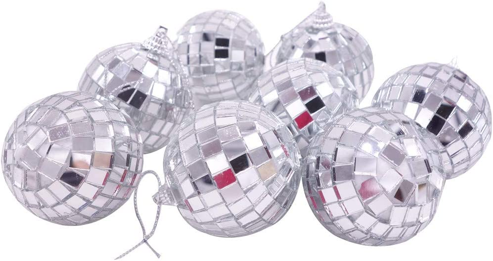 24 Pcs Silver 2 Inch Mirror Disco Ball Party Christmas Xmas Tree Ornament Decoration