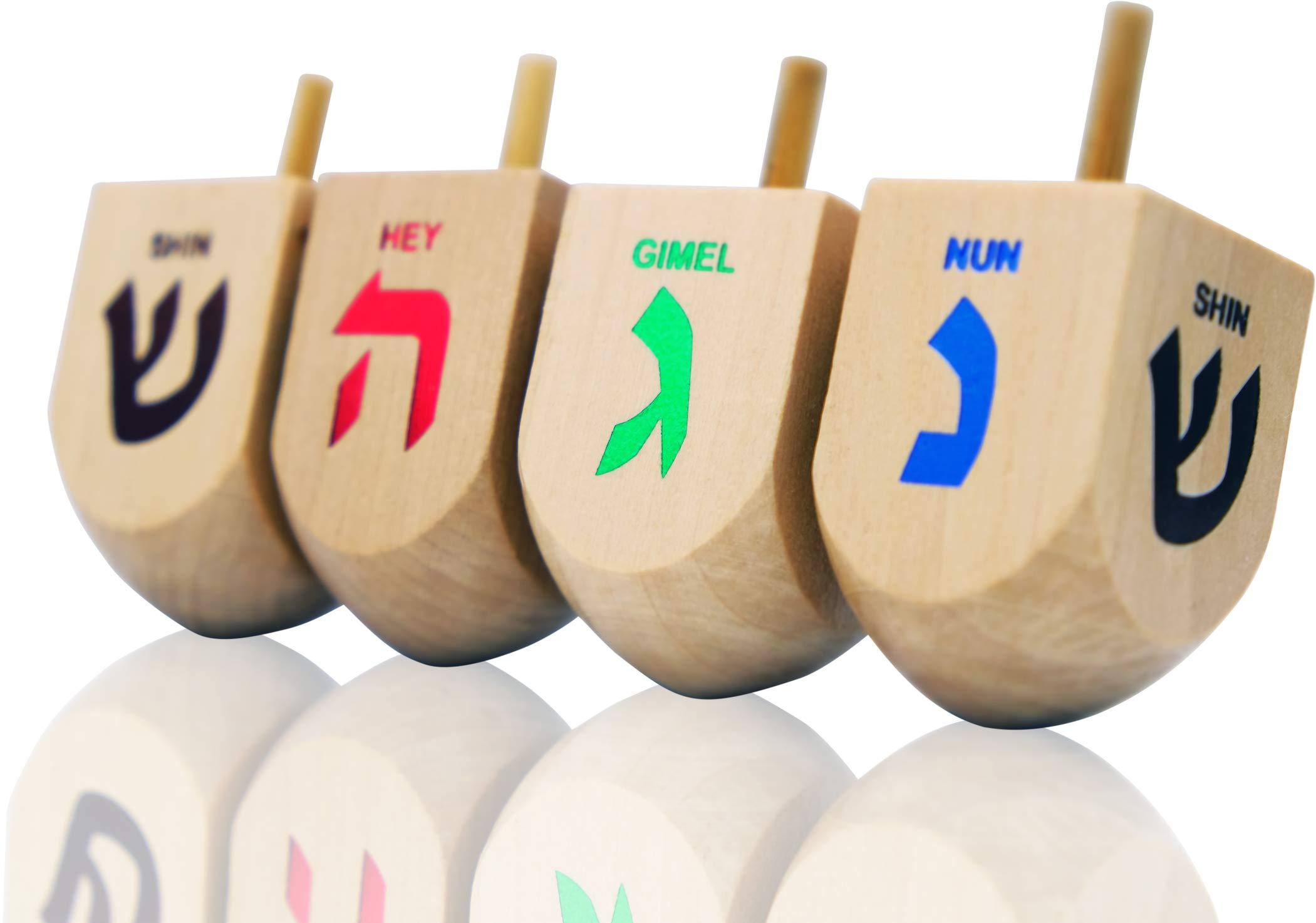 Hanukkah Dreidel Extra Large Wooden Dreidels Hand Painted - Includes Game Instruction Cards! (10-Pack XL Dreidels) by The Dreidel Company (Image #2)