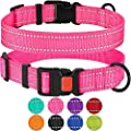 Collardirect Reflective Dog Collar Safety Nylon Collars For Dogs With Buckle Outdoor Adjustable Puppy Collar Small Medium Large Neck Fit 10 13 Pink
