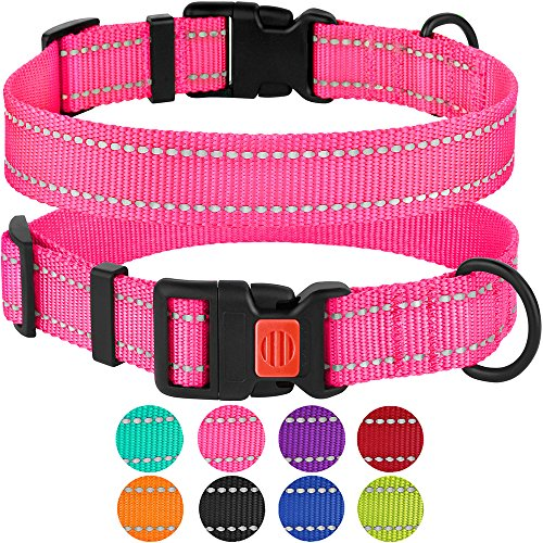 "CollarDirect Reflective Dog Collar, Safety Nylon Collars for Dogs with Buckle, Outdoor Adjustable Puppy Collar Small Medium Large (Neck Fit 12""-16"", Pink)"