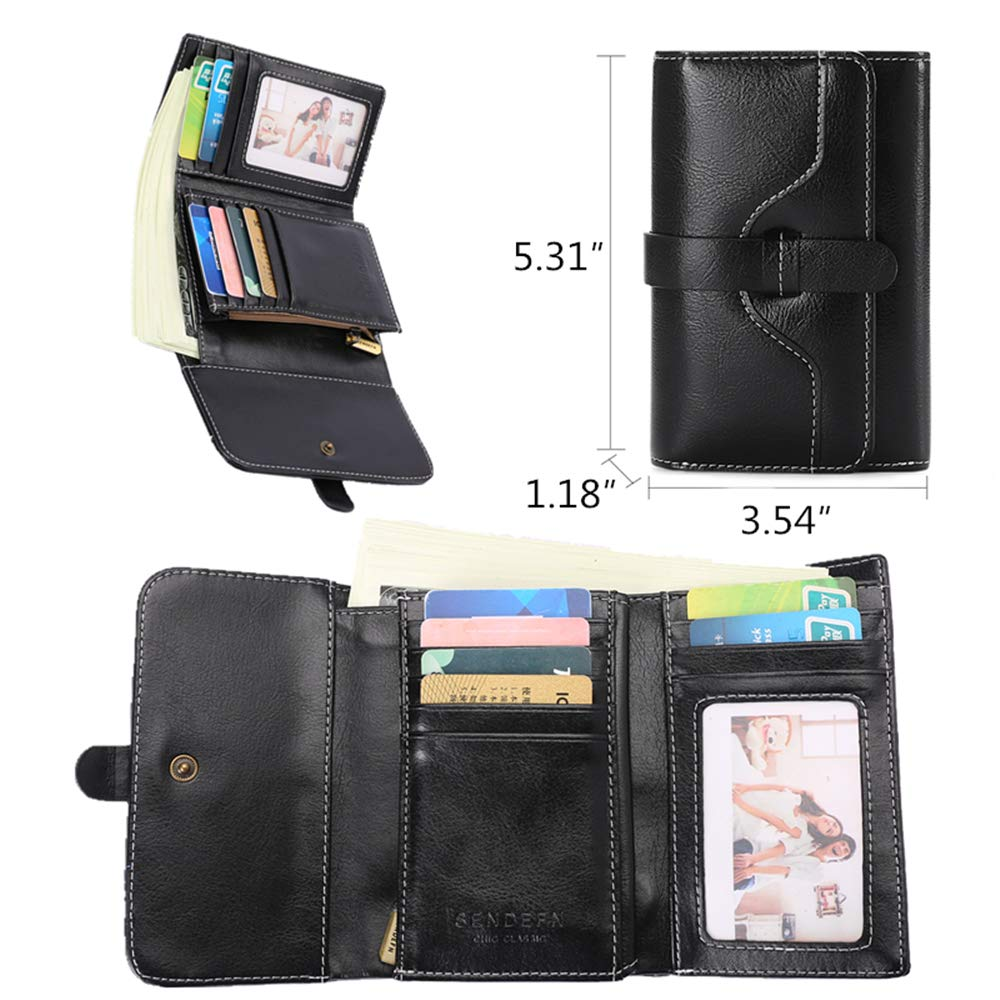 Vintage Leather Women short Wallet Coin Pocket Phone Purse Female Card Holder