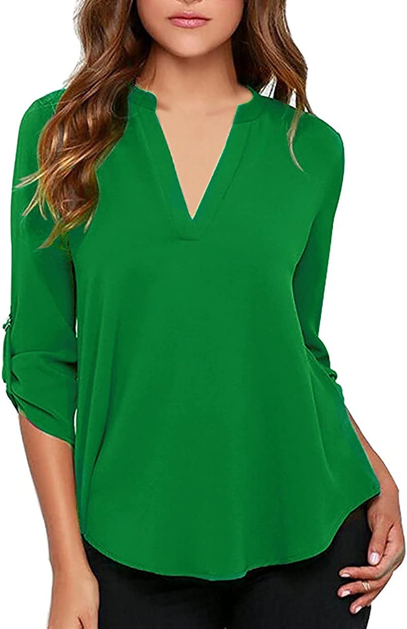 roswear Women's Casual V Neck Cuffed Sleeves Solid Chiffon Blouse Top