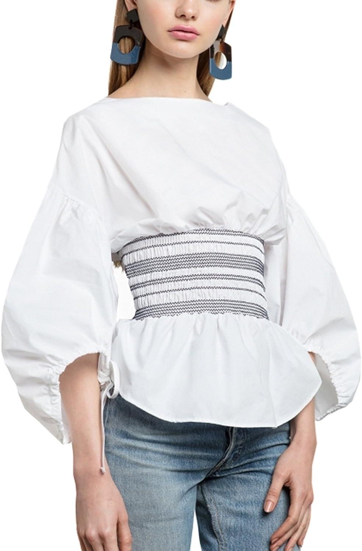 La Mujer Manga Farol Plisado Blusa Camisa Tops Corsé Cremallera Corbata Dulce: Amazon.es: Ropa y accesorios