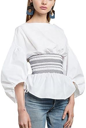Corsé es Amazon Manga Corbata Mujer La Tops Farol Plisado Blusa Accesorios Cremallera Y Dulce Camisa Ropa 0Hxw7qg