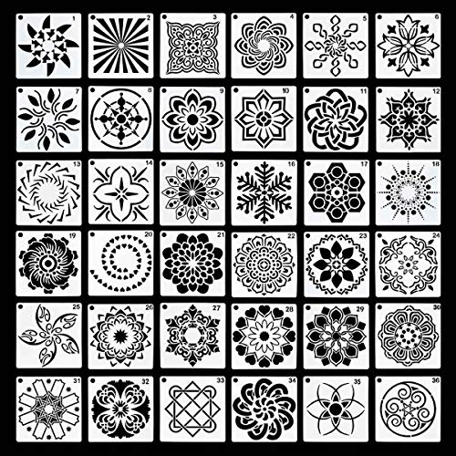 36 Pack Mandala Stencils (3.6x3.6 Inch) Mandala Dotting Painting Template Stencils Set for Painting Perfect for DIY Rock Painting Art Projects Wood Wall Floor Fabric Stone Furniture Tile (Reusable)