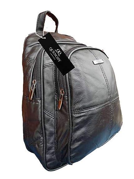 6ff24cc0017e Leather Backpack Rucksack Bag - Small to Medium Size Soft Leather Backpacks  - Plain Black Rucksacks Hand Bags ...