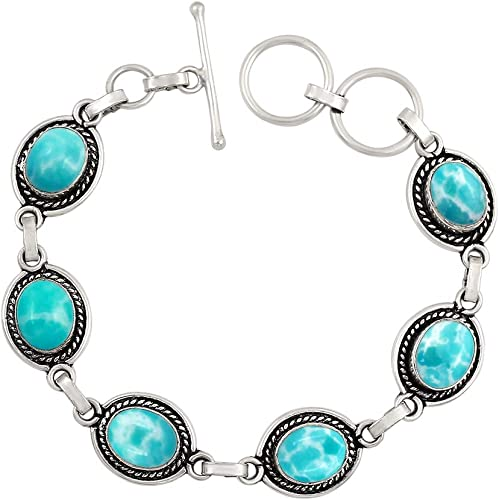 Solid Larimar Gemstone Handmade Bangle Bracelet 925 Silver Women Jewelry