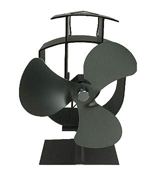Ventilador de chimenea, estufa de leña estufa ventilador estufa chimenea estufa funcionamiento silencioso 3 aspas gris: Amazon.es: Bricolaje y herramientas