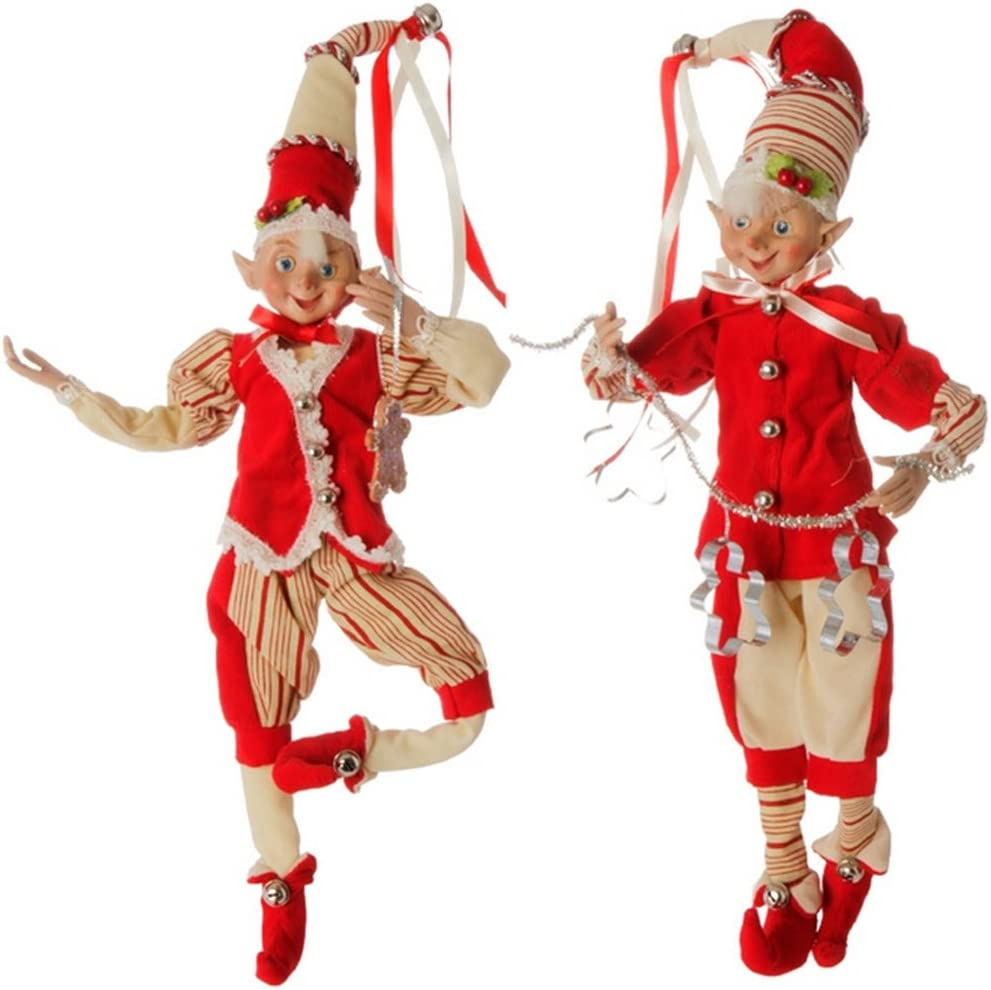 Large Posable Red and White Peppermint Stripe Elf Christmas Decorations, 16 Inch, Set of 2