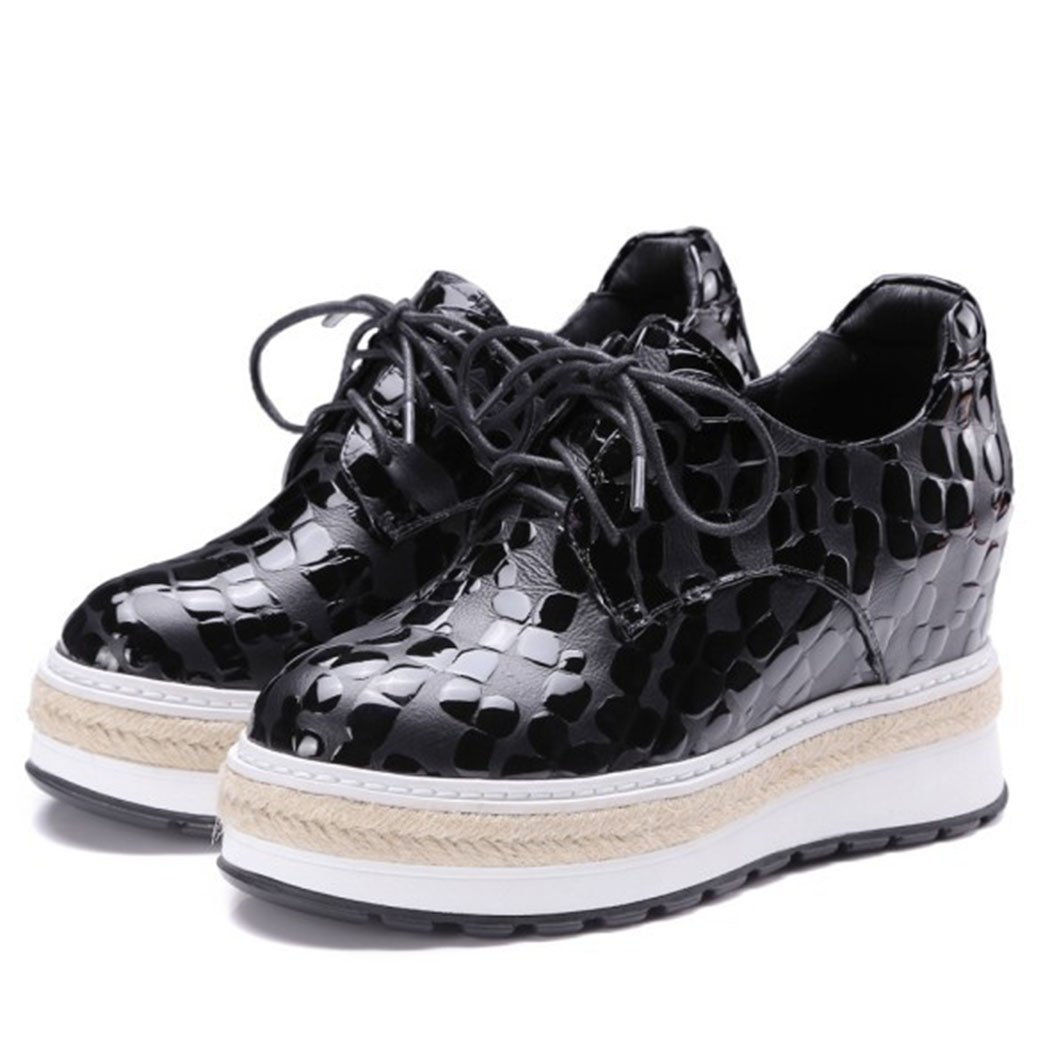 GAOLIXIA Damenschuhe Leder High Heels Höhe erhöhen Wedges Casual Schuhe wasserdicht Plattform Lace Up Casual Schuhe schwarz