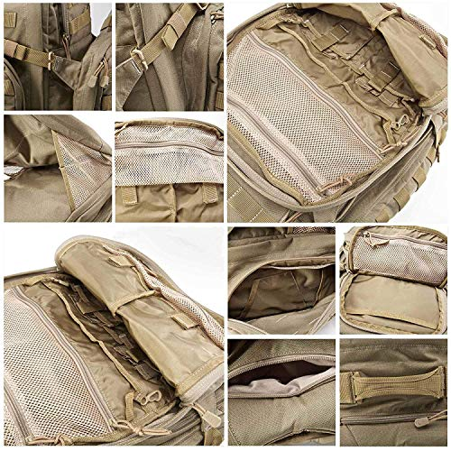 5.11 RUSH72 Tactical Backpack for Military, Bug Out Bag, Molle Pack, Large, Style 58602, Sandstone