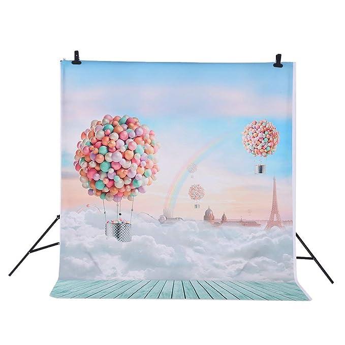 Fondo fotografía Andoer 1.5 * 2m Globos Patrón de Cielo Azul de Arco Iris para niños Retrato de Estudio fotográfico Infantil