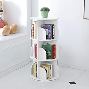 Bookshelf,Creative 360°Rotating Bookcase Simple Disassembly Bookshelves Simple Student Landing Rack-White 46x46x95cm(18x18x37)