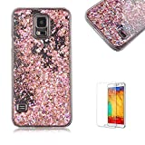 For Samsung Galaxy S5 Case,Funyye 3D Creative Floating Water Liquid Small Love Hearts Design Luxury Sparkly Bling Glitter Back Hard Shell Protective Case Cover With Soft TPU Bumper for Samsung Galaxy S5-Rose gold