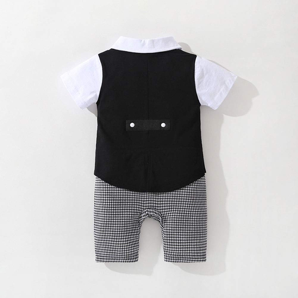 XINXINHAIHE Toddler Baby Boys Gentleman Short Sleeve Tuxedo Cotton Snap Stripe Romper Jumpsuit Fake 2pcs Fashion Contrast Color Lapel outsuits Color : Black, Size : 95