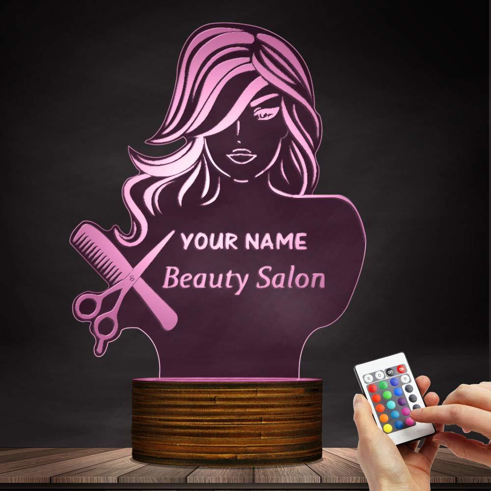 Beauty Salon 3D LED Night Light Barber Shop Hairdresser Scissors Comb Table Desk Lamp Custom Name Modern Design