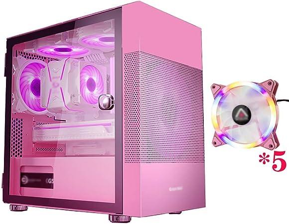 WSNBB Caso Juego Rosa, Semitorre ATX-M/ITX Caja De La Computadora PC For Juegos, Templado