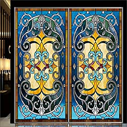 OstepDecor Custom Translucent Non-Adhesive Frosted Stained Glass Window Films 24\