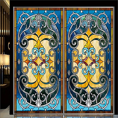 OstepDecor Custom Translucent Non-Adhesive Frosted Stained Glass Window Films 12