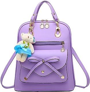 Donalworld Women PU Leather Drawstring Backpack Girls Flap Bag School Bookbag Donalworld-DWBAG0412F