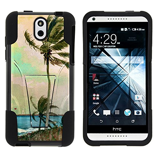 MINITUTLE Compatible with HTC Desire 610 Durable Hybrid Strike Impact Stand Case w/Art Pattern Designs Palm Tree (Unlocked Htc Desire 610 Phone)