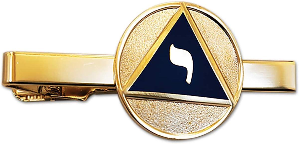 14th Degree Scottish Rite Masonic Tie Clip - [Blue & Gold][2 1/4'' Wide]