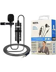 BOYA by-M1 3,5mm Micrófono lavalier Negro para Smartphone y cámara Canon o Nikon