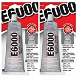 2 Pack Industrial Strength Adhesive Wood Glass Ceramics Plastics Glue E-6000 3.7Oz