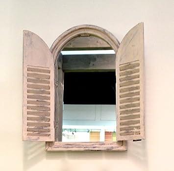 Antikas   Spiegel Indischer Stil, Spiegelfenster Gäste WC, Fenster Als  Spiegel Holzrahmen