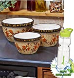 Gift Included- Country Kitchen Hearts and Stars Mixing Serving Bowls + FREE Bonus 23 oz Water Bottle byHomecricket (Set of 3 Bowls)