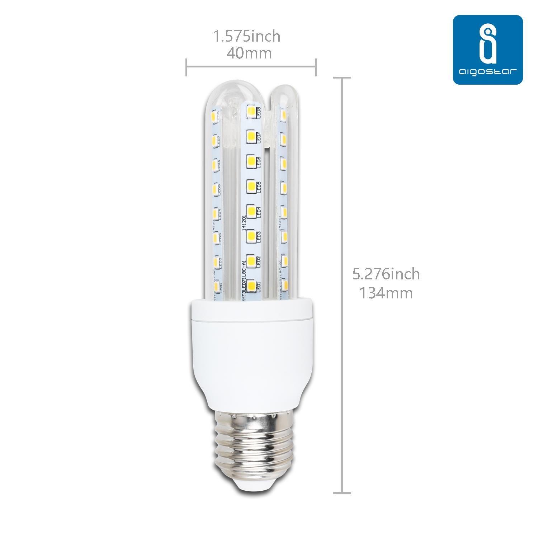 Aigostar Bombilla LED T3 3U de 9W, rosca grande y luz fría E27 ...