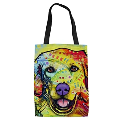 acb54954e1 Amazon.com  FORUDESIGNS Abstract Pup Canvas Portable Folding Shopping Bag  Women Folding Shoulder Bolsa Feminina Summer Beach Tote Handbags Color  C594Z22  ...
