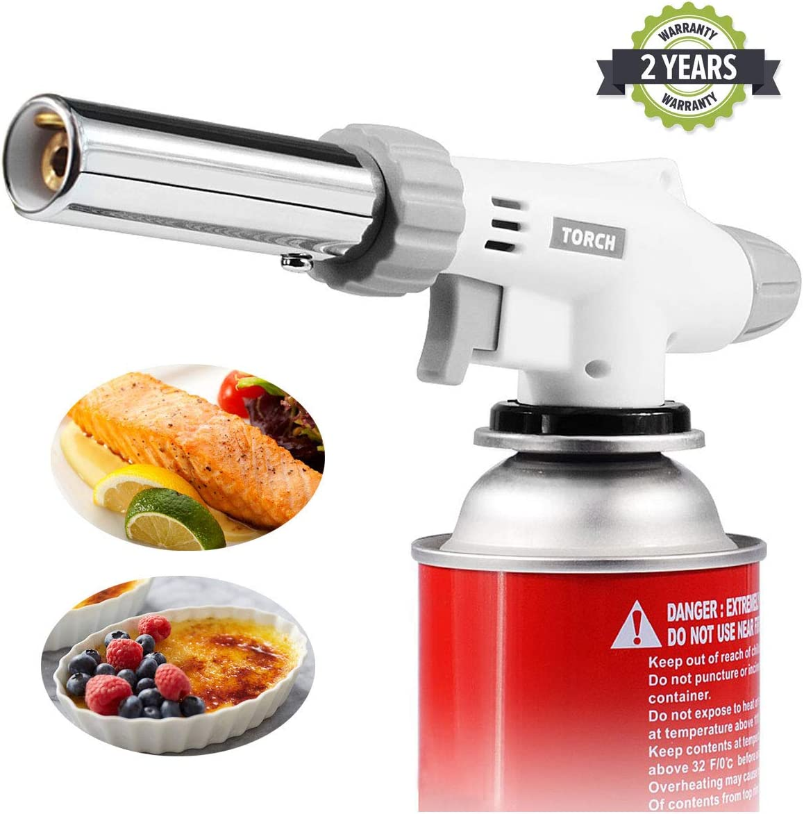 Butane Blow Torch, Adjustable Flame Kitchen Chef Culinary Torch, Cooking Crème Brulee Torch Lighter