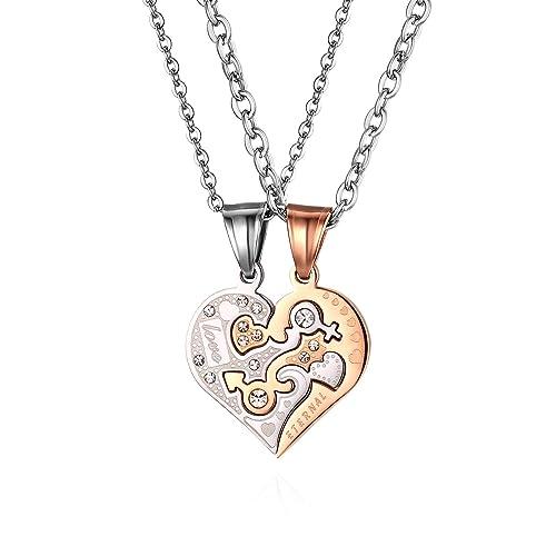 Oidea Pares Colgante Collar corazón Puzzle Colgante para Mujer Hombre, Cadena de Acero Inoxidable Rose Oro Plata Llavero con Pareja 55 cm 45 cm