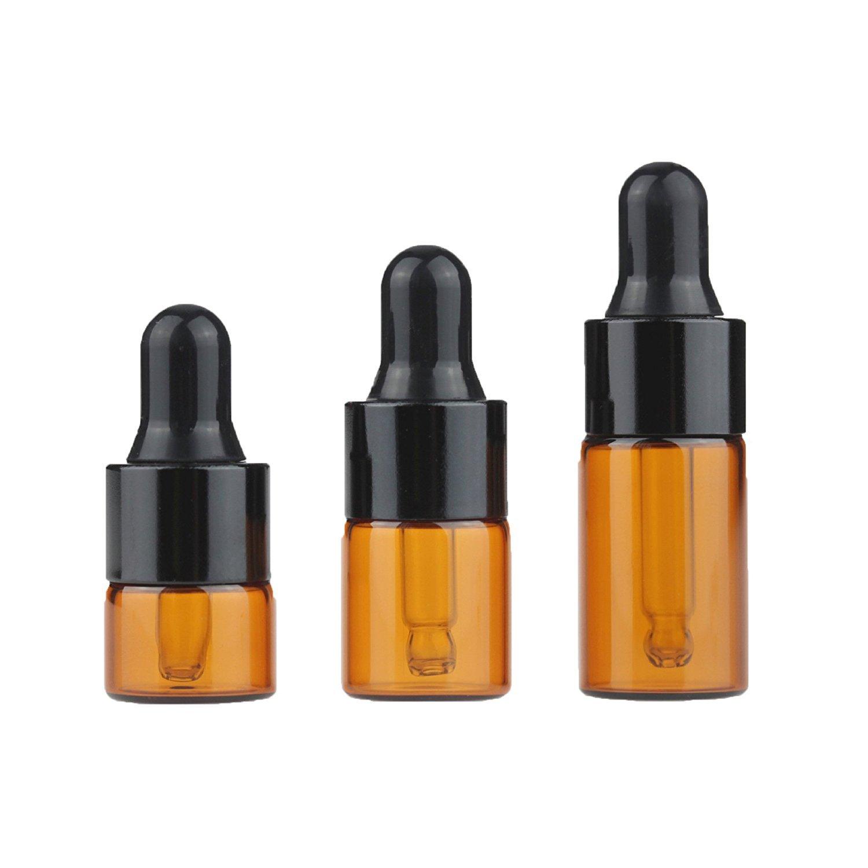 HugeStore - Botellas de cristal de á mbar recargables (50 unidades, con pipetas cuentagotas de aceite, botellas de cristal)