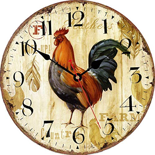 Qukueoy 34cm Vintage Farmhouse Kitchen Wall Clocks Battery Operated Rooster Analog Clock for Dinning Living Room Decor,Thicken Wood Board,Non-Ticking