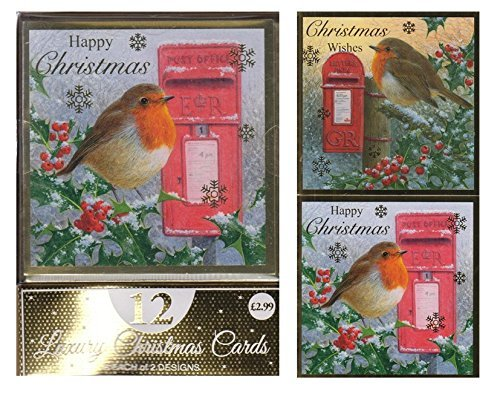 amazoncom luxury christmas cards envelopes 2 designs red robin by post box by eurowrap home kitchen - Is Red Robin Open On Christmas