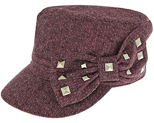 Poly Wool Metallic Conductor Hat With Studded Gg Bow Pink Combo 54cm (Hat Wool Studded)