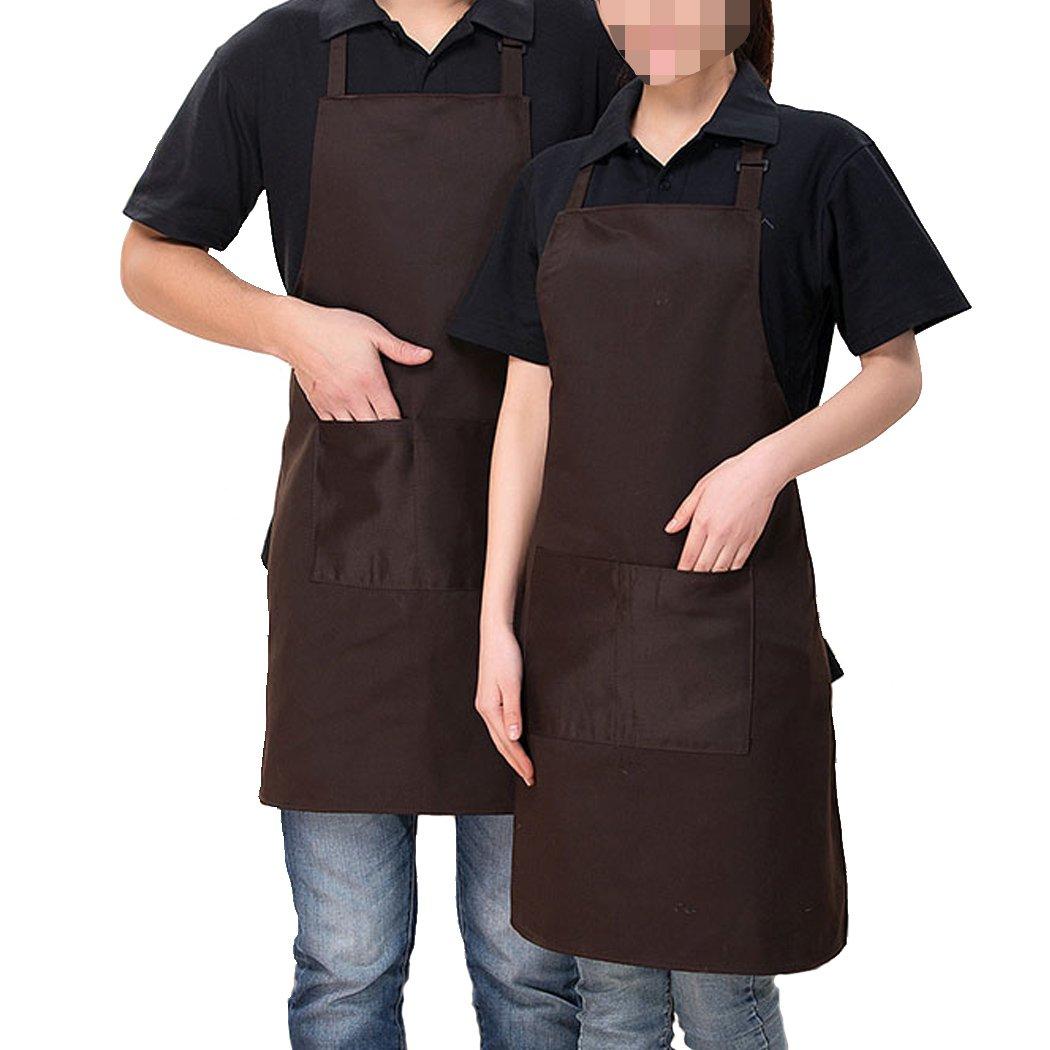 2 Pack Adjustable Bib Apron with Pocket, Coffee Shop, Kitchen, Bar, Bakery, Hotel, Durable Apron for Women Men (Dark brown)