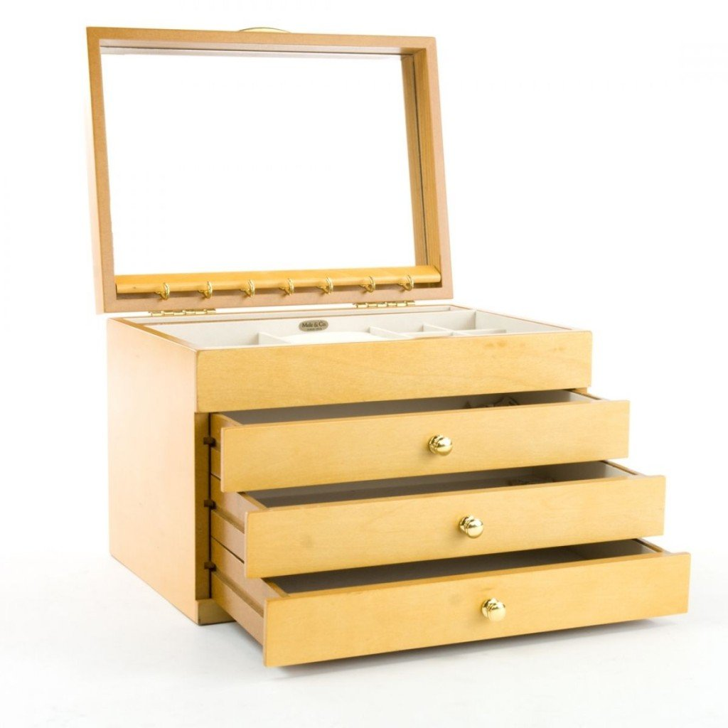 Large Chest Beech Wood Style Wooden Jewellery Box by Mele Co