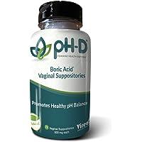 pH-D Feminine Health Support, Boric Acid Vaginal Suppositories, Bottle of 72 (600 mg)