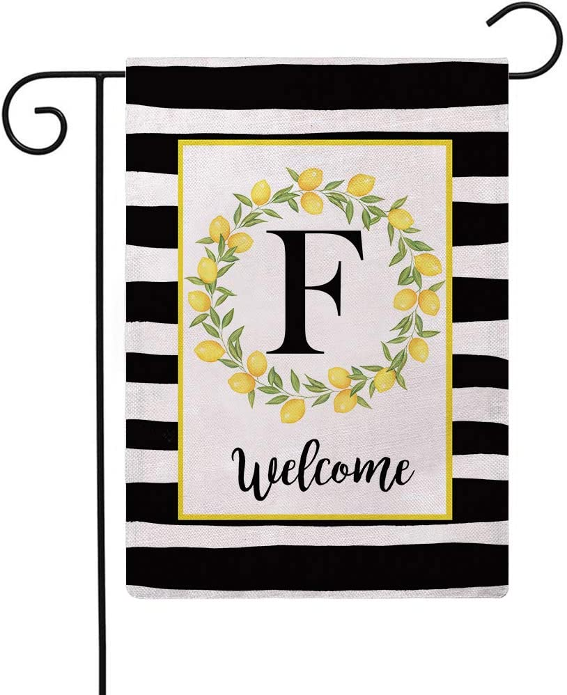 ULOVE LOVE YOURSELF Welcome Farmhouse Decorative Garden Flags with Letter F/Lemons Wreath Double Sided House Yard Patio Outdoor Garden Flags Small Garden Flag 12.5×18 Inch(F)