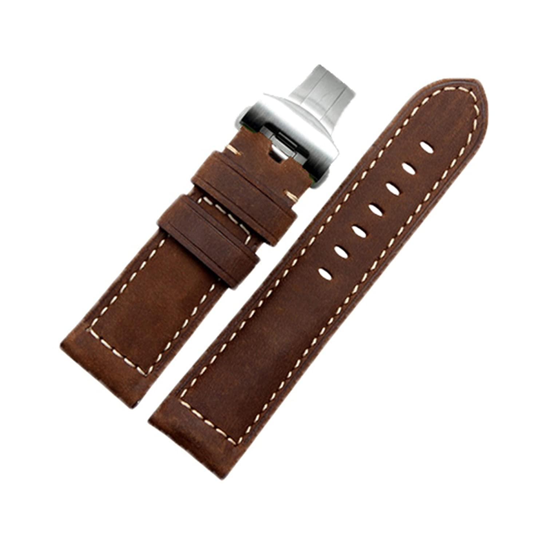 [エイト]腕時計ベルト 24mm ブラウン×ステンレス尾錠 レザー ELB028A [並行輸入品]  B01N2T2T3H